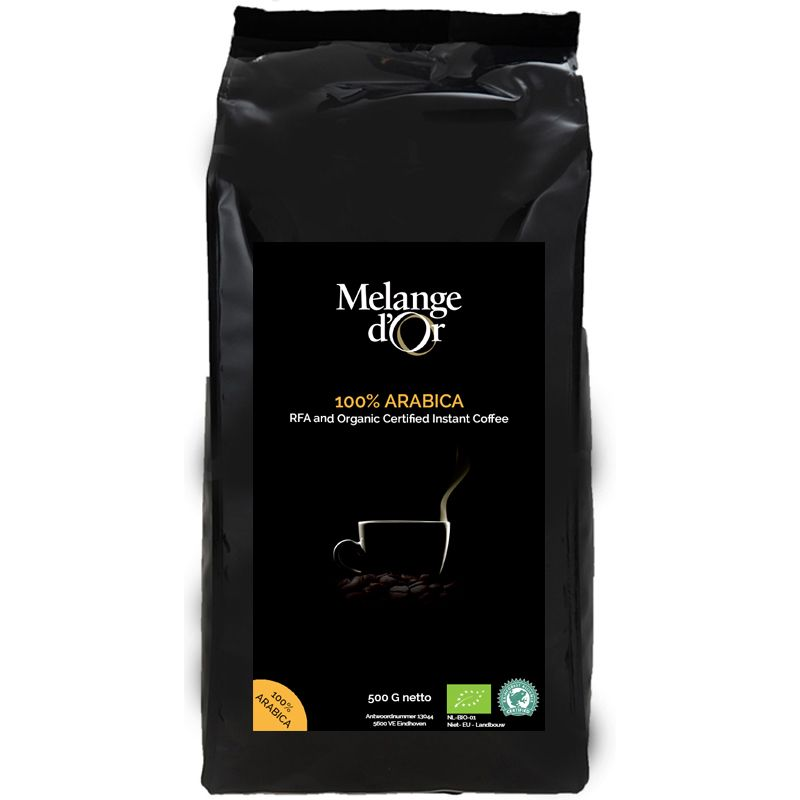 Melange d'Or 100% Arabica Biologische Instant Koffie 500 gram – Rainforest Alliance