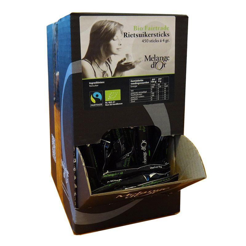 Melange d'Or Rietsuikersticks 4,0 gram in Dispenserdoos – Fair Trade & Biologisch