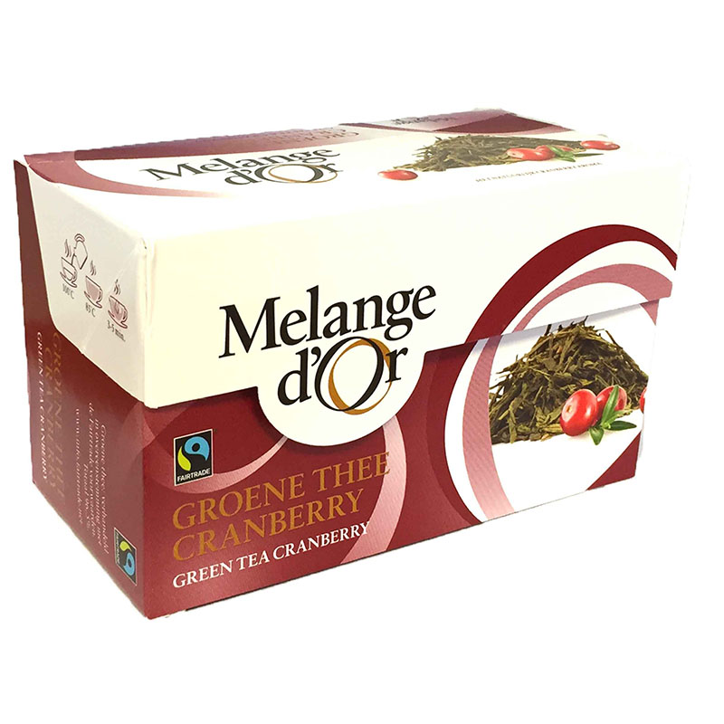 Melange d'Or Groene Thee met Cranberry Envelopjes 2 gram – Fair Trade